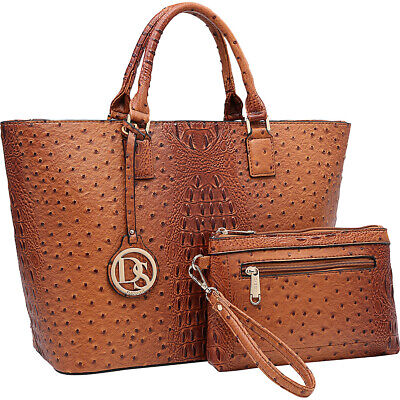 Dasein Ostrich Embossed Briefcase Tote with Matching Women's Business Bag NEW