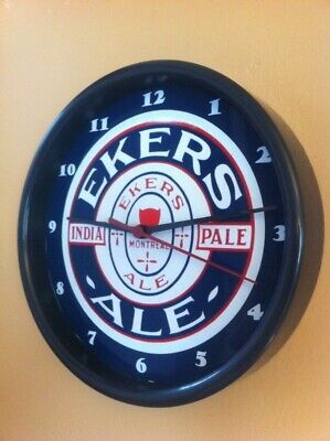 Eker's Montreal Canada Beer Bar Man Cave Advertising Black Wall Clock Sign