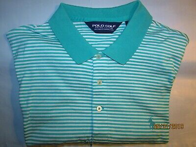 51030129 NWOT Ralph Lauren Polo Golf S/SLargeLOrange/Navy/Blue Striped W/ PONY