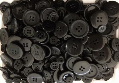 BB BUTTONS BULK MIXED LOT pack of 100 BLACK sewing craft acrylic