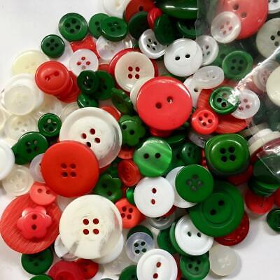 BB BUTTONS BULK MIXED LOT pack of 100 CHRISTMAS / XMAS MIX sewing craft acrylic