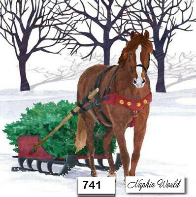 (741) TWO Individual Paper Luncheon Decoupage Napkins - CHRISTMAS, SLEIGH, HORSE