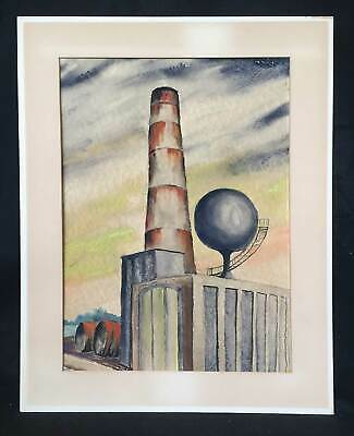 Art Deco Machine Age Architectural Antique Painting Watercolor Industrial