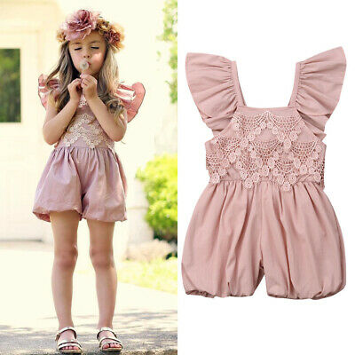 Toddler Baby Girl Summer Flower Ruffle Romper Bodysuit Jumpsuit Outfits Sunsuit