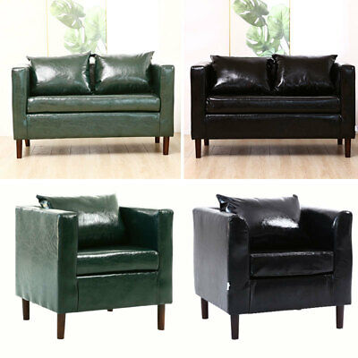 Faux Leather Tub Chair Armchair Sofa Couch 1/2 Seater Living Room Reception UK