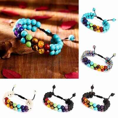 7 Chakra Yoga Natural Stone Beaded Double Layer Lava Healing Adjustable Bracelet