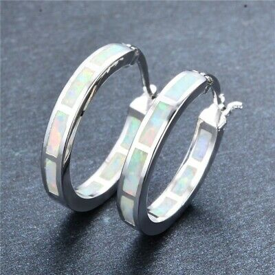 Exquisite 925 Silver Circle White Fire Opal Hoop Earrings Women Wedding Jewelry