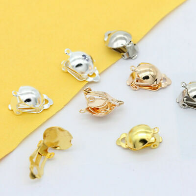 20 Silver/Gold Plated Filigree Half Ball Loop Ear Clips Clip On Earring Findings