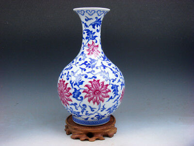 Glazed Porcelain Flower Blossoms Painted Vase w/ FREE STAND #07231802