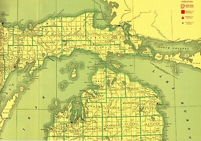 1963 Antique UPPER PENINSULA MICHIGAN State Map Large Poster Size Map 6655