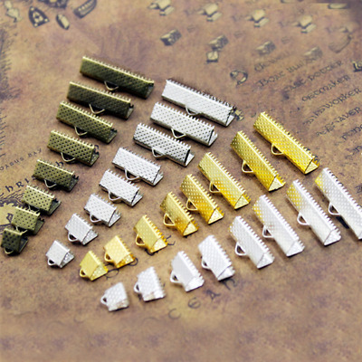 Ribbon Cord Clamp Ends Over Crimp Tips Clip Beads Cap DIY6,8,10,13,16,20,25,30mm