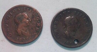 "GB George III Pair Of Halfpennies 1806 & 1807 In ""G"" Condition"