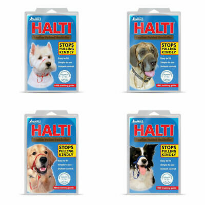 HALTI Dog Head Collar Leight weight Padded Anti Pull Stop Pulling Kindly - Black