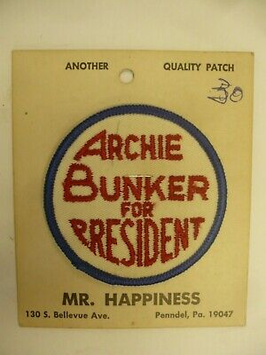 Vintage 1972 Archie Bunker For President Patch, Mr Happiness Manufacturer, Mic