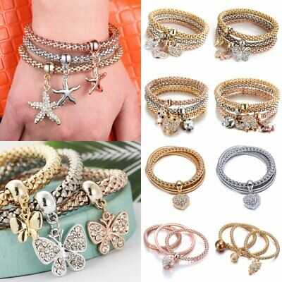 3Pcs Fashion Boho Women Bracelets Set Crystal Rhinestone Bangle Jewelry Summer
