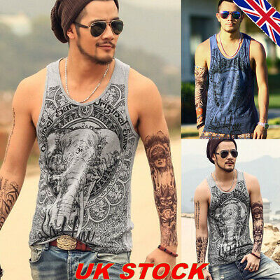 Mens Ethnic Elephant Print Tank Tops Vest Sleeveless Summer Muscle T Shirt Tee