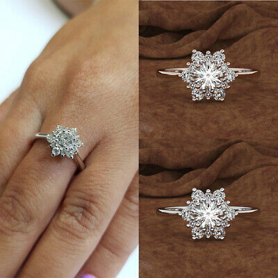 Fashion Women Crystal Cubic Zirconia Snowflake Shaped Ring Jewelry Gifts