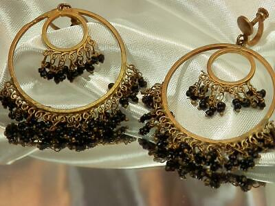 Antique Vintage 1950's Brass Black Glass Large Dangle Screw Back Earrings 850My9