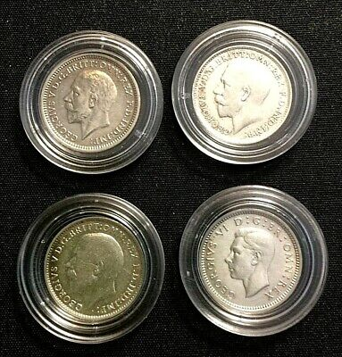 4 x REAL SILVER 3d Coins 1917-1941 + 4 other Lsd Coins