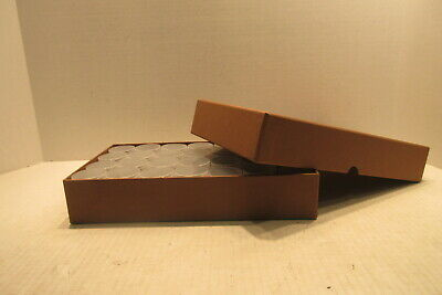 Square half dollar coin tube storage box brown comes with 28 square coin tubes