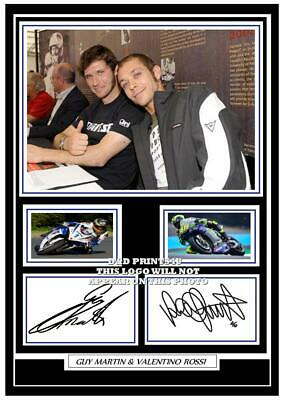 (##47) guy martin & valentino rossi signed a4 photo/mounted/framed (reprint) ##