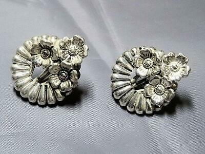 1a13d7199 Vintage 1950's Danecraft Sterling Silver Floral Screwback Earrings