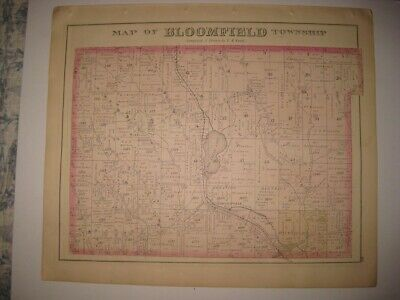 Antique 1876 Bloomfield Township Riceville Crawford County Pennsylvania Map Rare