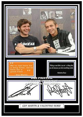 (##48) guy martin & valentino rossi signed a4 photo/mounted/framed (reprint) ##