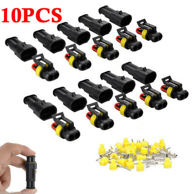 10 sets Kit 2 Pin Way AMP Super seal Waterproof Electrical Wire Connector Plu RC