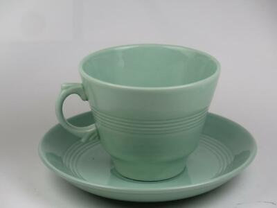 """VINTAGE REPLACEMENT CHINA Wood's Ware Tea Cup & Saucer (Green) """"Beryl"""" 1940s"""