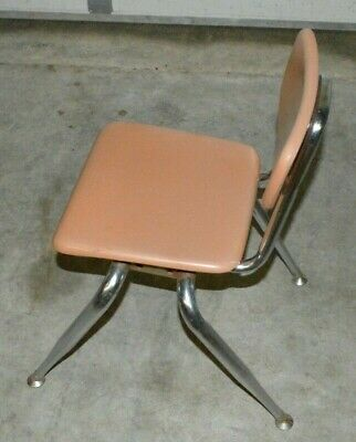 Vintage Mid Century Light Pink VIRCO Classroom Chair Fiberglass Resin Chrome