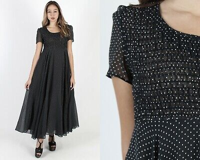 Vintage 70s Black Swiss Dot Dress Boho Smocked Prairie Festival Sweeping Maxi