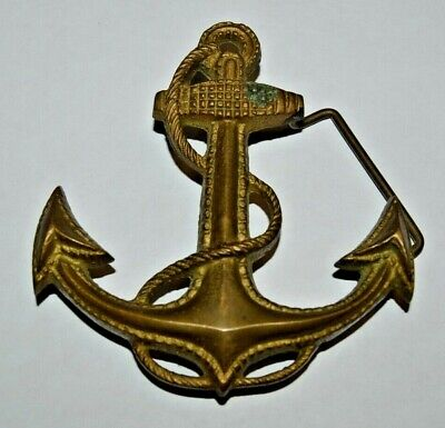 Vintage LARGER US Navy Anchor Boating Submarine Nautical Brass Belt Buckle RARE