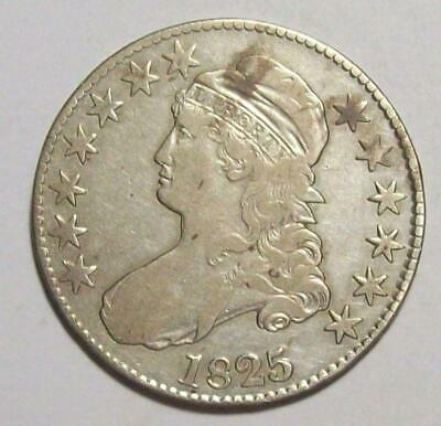 1825  Early CAPPED BUST HALF DOLLAR Old Cleaning Sharp Fine #17B92