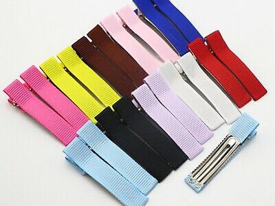 20 Color Grosgrain Ribbon Half Covered Metal Double Alligator Hair Clips 48mm