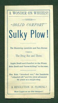 Antique 1884 Solid Comfort Sulky Plow Agricultural Advertisement Brochure