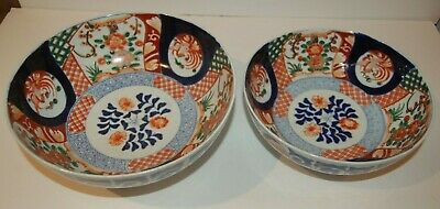 "Antique Imari Nesting Bowls Underglaze Blue, Red and Green Decoration 10"" X 4"""