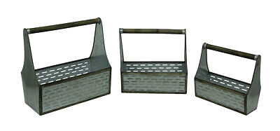 Zeckos Galvanized Cut Out Metal Set of 3 Antique Style Wooden Tool Boxes