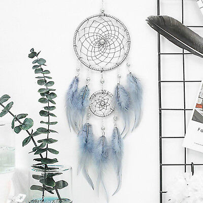 "18"" Blue Large Handmade Feather Dream Catcher Car Wall Hanging Ornament Craft US"