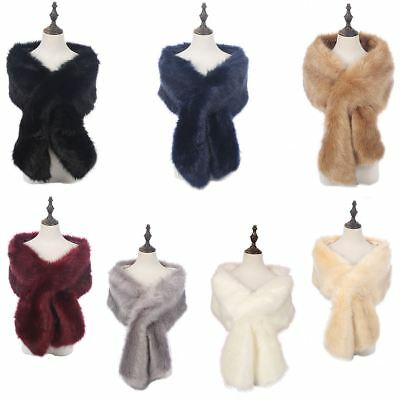 AU Ladies Winter Faux Fur Scarf Neck Warmer Wrap Extra Large Collar Shawl Stole