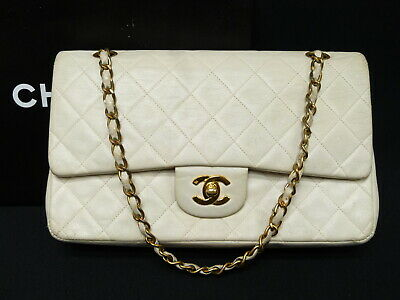 50cada62ff53 r5807 Auth CHANEL White Quilted Lambskin 10