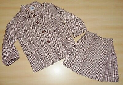 VINTAGE UNWORN 1970s GIRLS BROWN & WHITE CHECK JACKET & SKIRT SUIT 4-5 to 7-8
