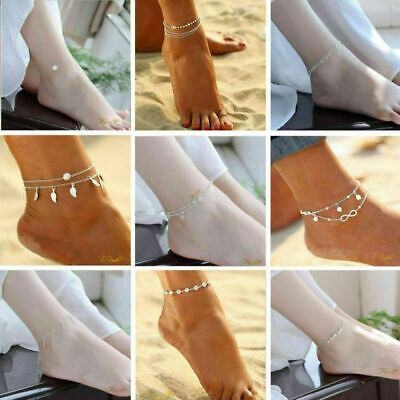 Women Ankle Bracelet 925 Sterling Silver Gold Anklet Foot Chain Boho Beach Beads