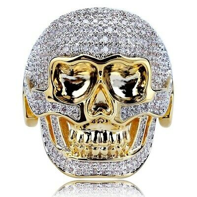 Men 18k Gold Plated Iced Out CZ Ring Hip-Hop Gothic Punk Skull Band Ring SZ7-14