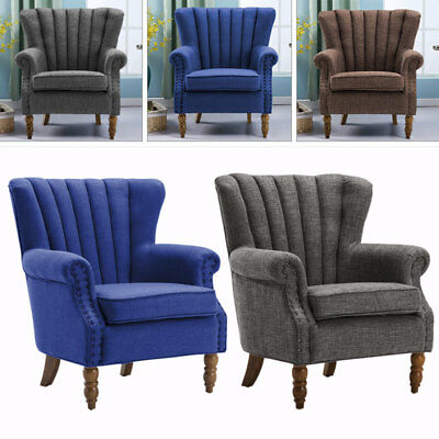Retro Studs Chesterfield Queen Anne Style Accent Armchair Living Room Fireside