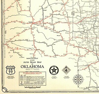 1930 Antique OKLAHOMA State Map Auto Trails Map Oklahoma Road Map RARE Size 6663