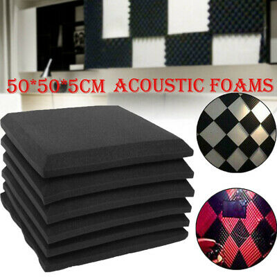 Acoustic Foams Wedge Panel Tiles Studio Room Wall Sound Proofing Room 50X50 X5cm