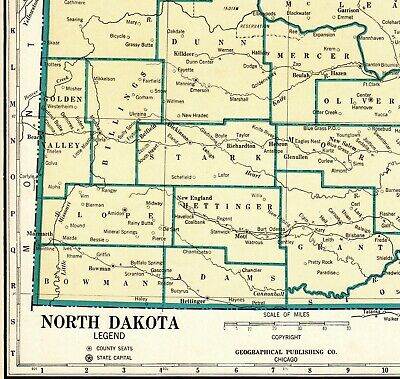 1931 Antique NORTH DAKOTA State Map Rare Size Map of North Dakota Poster 6670