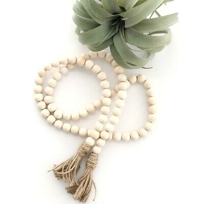 Wood Bead Garland Tassels Beads Rustic Wall Hanging Decor Props Country Decor