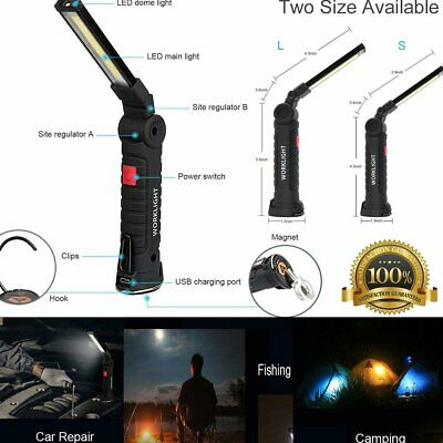 COB LED Work Light Torch Rechargeable Cordless Inspection Magnetic Lamp